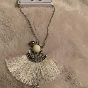 White Boho Tassel Fan Necklace on Silver Chain NEW